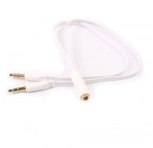 3.5mm AUX Headphone Microphone Cable Coupler Adapter 4 Pole Female to 2x 3 Pole Male